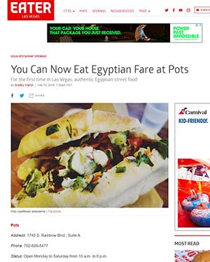 Eater Las Vegas Article - You Can Now Eat Egyptian Fare at Pots
