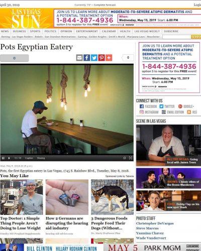 Las Vegas Sun Article - Pots Egyptian Eatery