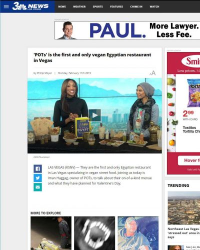 News 3 Las Vegas Article - 'POTs' is the first and only vegan Egyptian restaurant in Vegas
