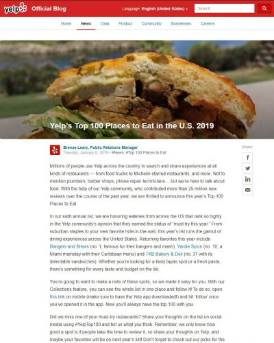 Article - Yelp's Top 100 Places to Eat in the U.S. 2019