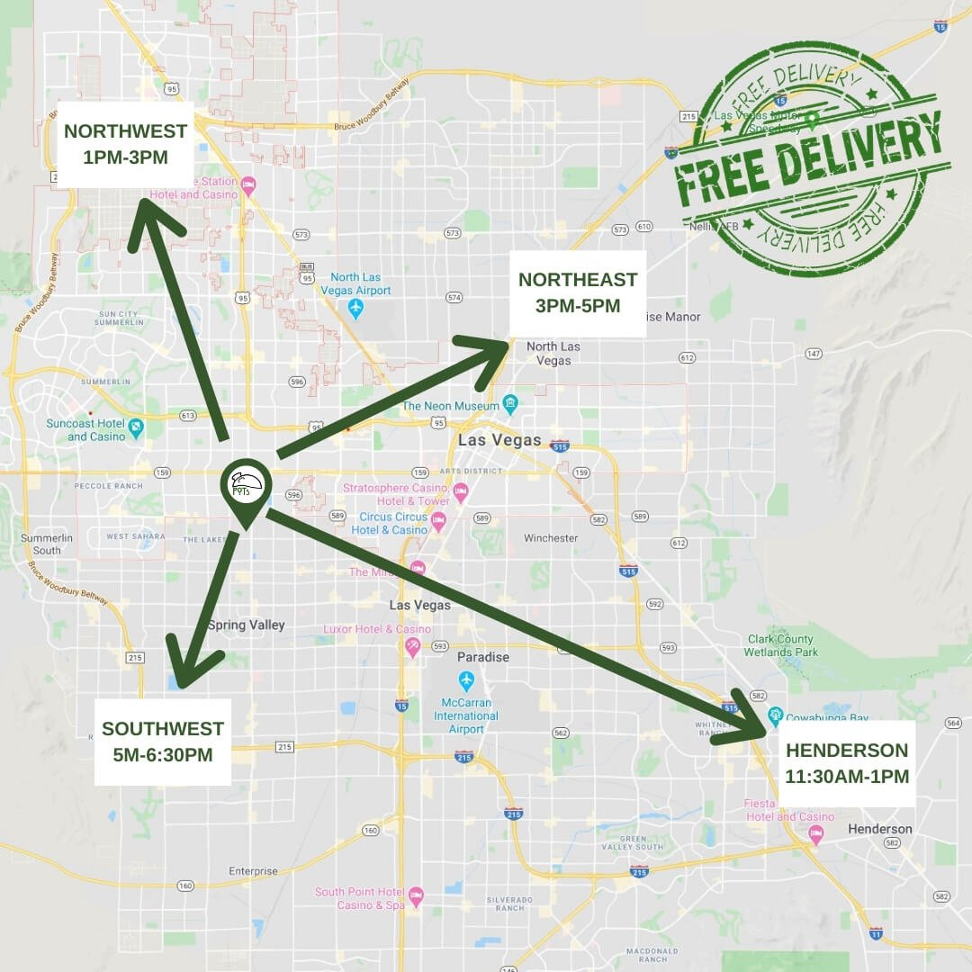 POTs Free delivery across the Las Vegas Valley map and Schedule