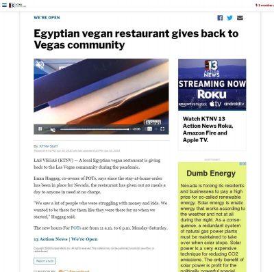 KTNV Channel 13 - Egyptian vegan restaurant gives back to Vegas community