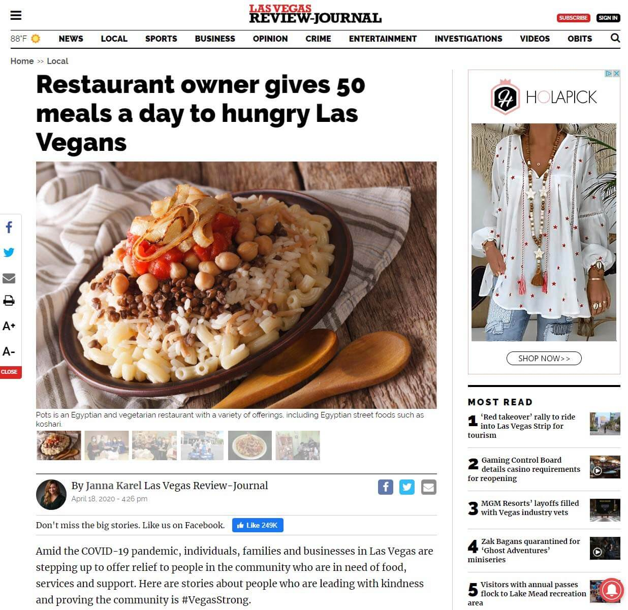 Las Vegas Review Journal Article - Restaurant owner gives 50 meals a day to hungry Las Vegans