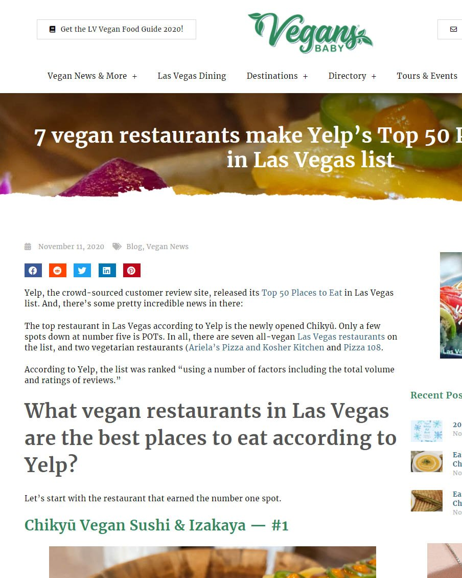7 vegan restaurants make Yelp's Top 50 Places to Eat in Las Vegas list