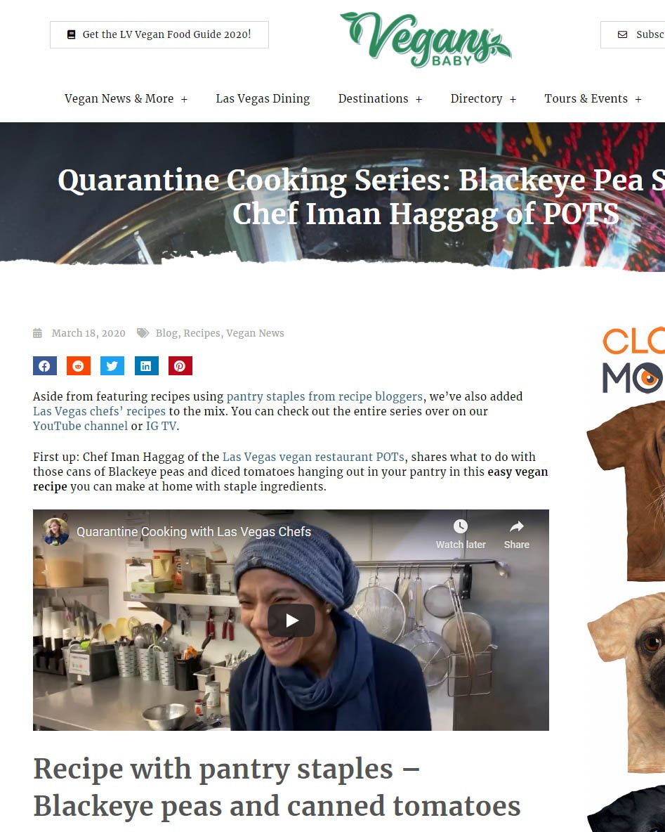 Quarantine Cooking Series Blackeye Pea Soup with Chef Iman Haggag of POTS - Screenshot
