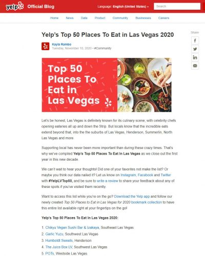 Yelp's Top 50 Places To Eat in Las Vegas 2020