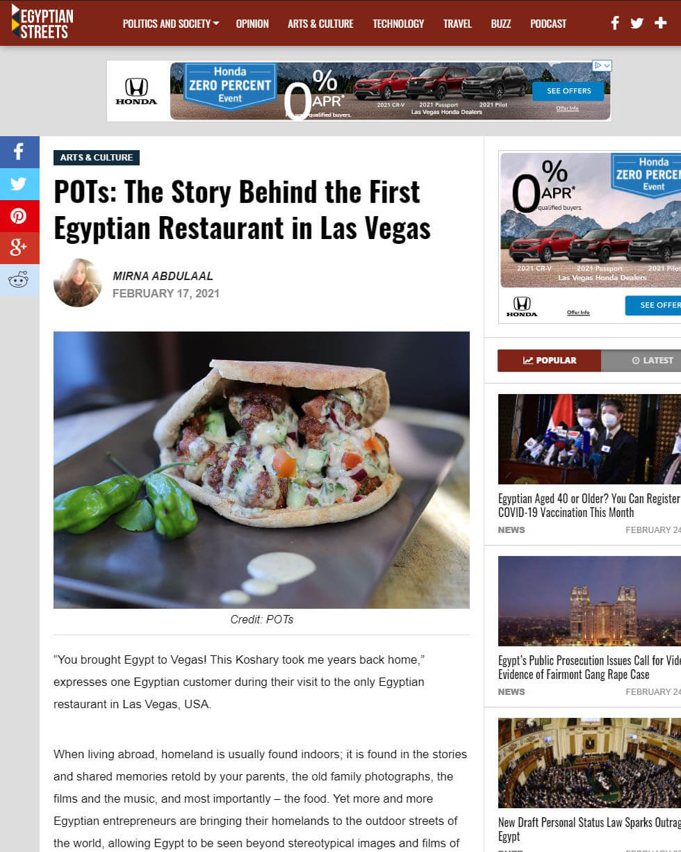 Egyptian Streets Article - POTs: The Story Behind the First Egyptian Restaurant in Las Vegas
