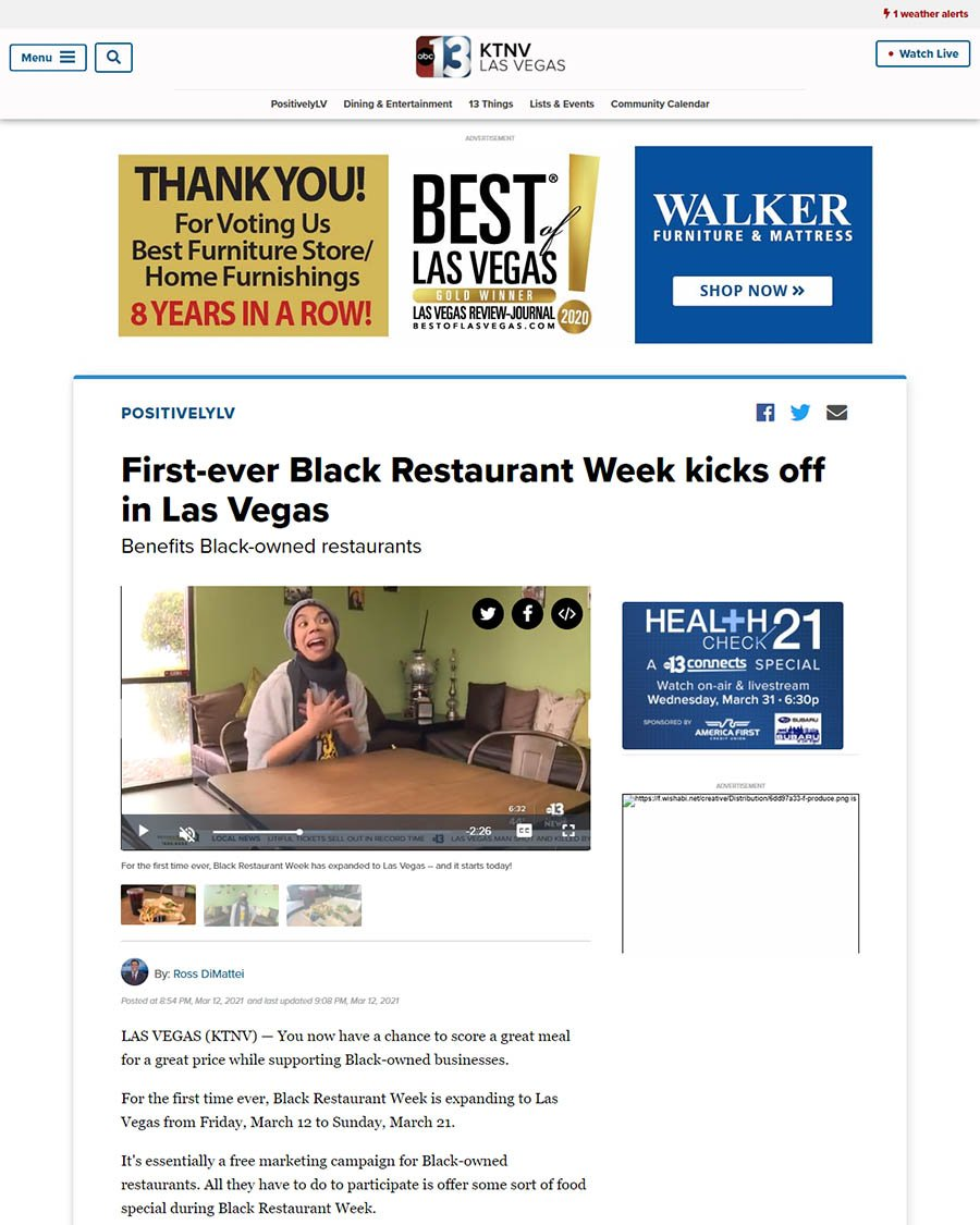 KTNV 13 news - First-ever Black Restaurant Week kicks off in Las Vegas article