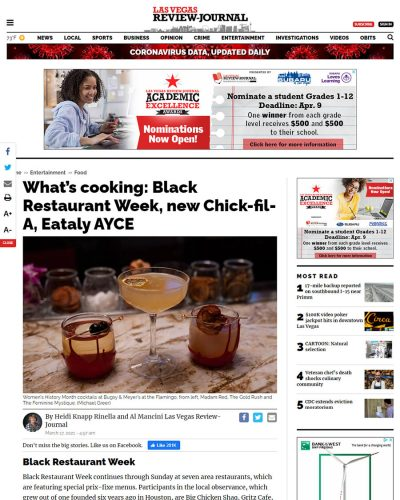 LVRJ - What's cooking: Black Restaurant Week, new Chick-fil-A, Eataly AYCE Article