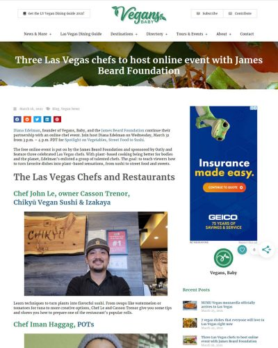 Vegans, Baby - Three Las Vegas chefs to host online event with James Beard Foundation event