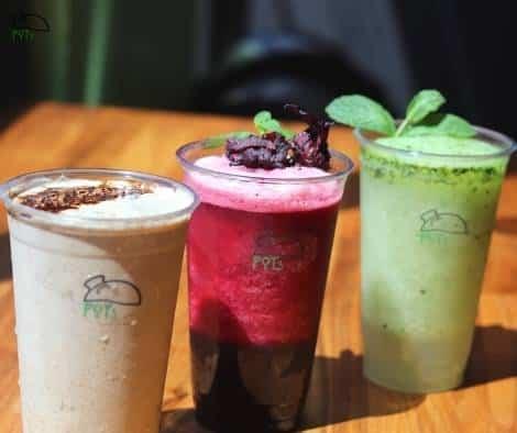 Cold drinks at POTs - Arabita tahini, slushy karkadeh, Lemon Na'na