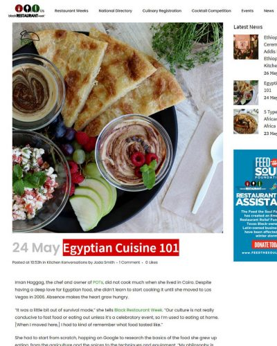 black restaurant week - Egyptian Cuisine 101 article